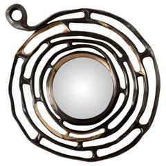 """Aldus, """"Minosse"""" Mirror, Burnished and Polished Cast Bronze, Contemporary"""