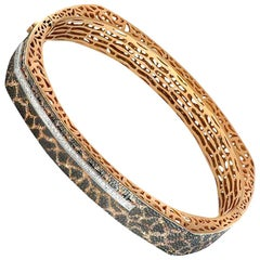 Alex Soldier Diamond Rose Gold Hand-Textured Hinged Bracelet One of a Kind