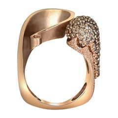 Alex Soldier Diamond Rose Gold Textured Crossover Bypass Ring One of a Kind