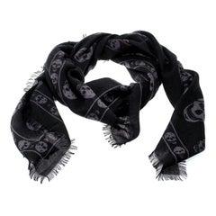 Alexander McQueen Black & Grey Skull Print Cashmere Scarf