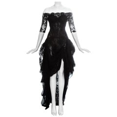 Alexander McQueen black lace corseted trained evening dress, 'Sarabande' ss 2007