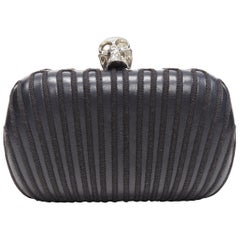 ALEXANDER MCQUEEN black tonal rope embroidery leather crystal skull box clutch