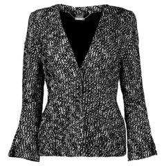 Alexander McQueen Black & White Tweed Front-Zip Jacket sz IT40