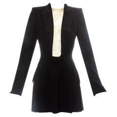 Alexander McQueen black wool blazer mini dress with shawl lapel, ss 1998