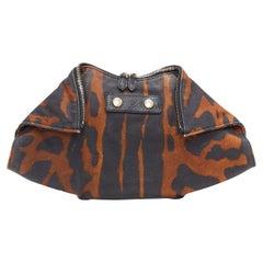 ALEXANDER MCQUEEN De Manta brown black leopard print canvas fold over clutch bag