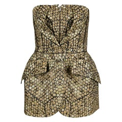 Alexander McQueen Gold and Black Honeycomb Pattern Strapless Corset Top m