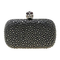 Alexander McQueen Grey Nubuck Leather and Crystal Embellished Skull Clutch