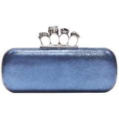 ALEXANDER MCQUEEN metallic blue leather 4-ring skull knuckleduster box clutch