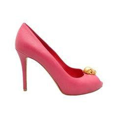 Alexander McQueen Pink Peep-Toe Skull Pumps