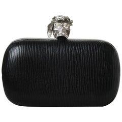 Alexander McQueen Poppy Embellished Skull Leather Box Clutch
