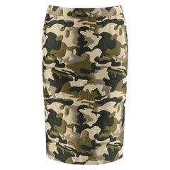 ALEXANDER McQUEEN S/S 1998 Green Camouflage Knee Length Pencil Skirt