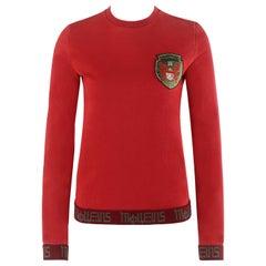 ALEXANDER McQUEEN S/S 2000 Red Cyrillic Pegasus Emblem LS Pullover Sweater Top