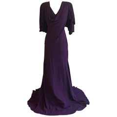 Alexander McQueen Violet Purple Cape Back Gown