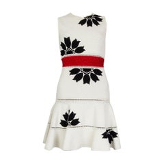 ALEXANDER MCQUEEN white viscose FLORAL EMBROIDERED JACQUARD Dress XS