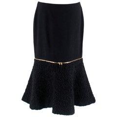 Alexander McQueen Wool & Mohair Blend Flared Zip Detail Midi Skirt