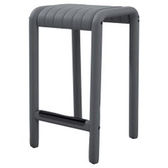 Alexander Street Counter Stool by Philippe Malouin in Perforated Grey Leather