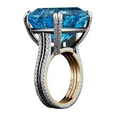 Alexandra Mor Emerald-Cut Aquamarine and Diamond Ring
