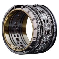 Alexandra Mor Wide Asscher-Cut Diamond Platinum Eternity Band Ring
