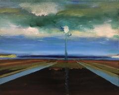 """One-Way Ticket to Paris"", Alexandra Rozenman, oil painting, blues, browns"