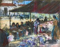 Figures in a Market - Fauvist Pastel, Women in Market by Alexandre Altmann