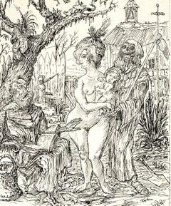 Die Versuchung des Heiligen Antonius - Original Lithograph by A. Kubik - 1922