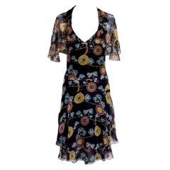 Amazing Chanel Chinoiserie Silk Chiffon CC Logo Print Dress