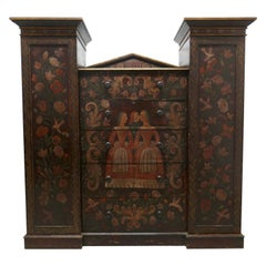 American 19th Century Painted Folk Art Marriage Chest and Hanging Cupboard