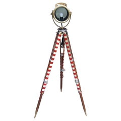 American Brass Spot Light on Telescopic Barber Pole Tripod Stand, NY, circa 1880