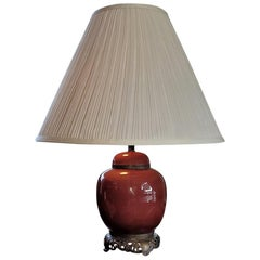 American Dedham Style Pottery Sang de Boeuf & Gilt Bronze Table Lamp