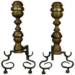 American Federal Philadelphia Style Brass Beehive Fireplace Andirons, circa 1850