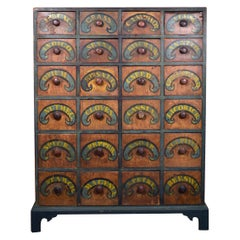 American Painted Apothecary Cabinet, New England, Early 19th Century