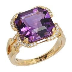 Amethyst Emerald Cut Ring with Diamonds