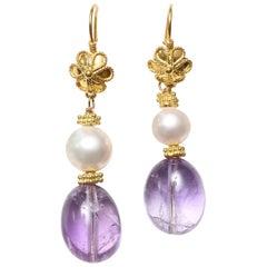 Amethyst Pearl Gold Dangle Earrings