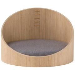 Amura River Dog Sofa in Natural Oak and a Grey Cushion by Amuralab
