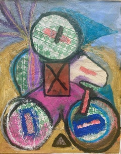Childhood, Acrylic Pastel Stick Papier-Mache Abstract Painting on Canvas