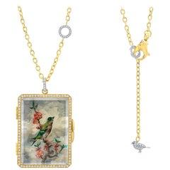 Amy Y 18K Gold, Platinum, Diamond, Citrine, Enamel Bird Locket Pendant 'Olivia'