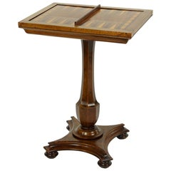 19th English Walnut Games Table, Top Flips For Both Chess And Cribbage/bsckgammo