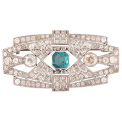 Art Deco Emerald and Diamond Brooch, circa 1925