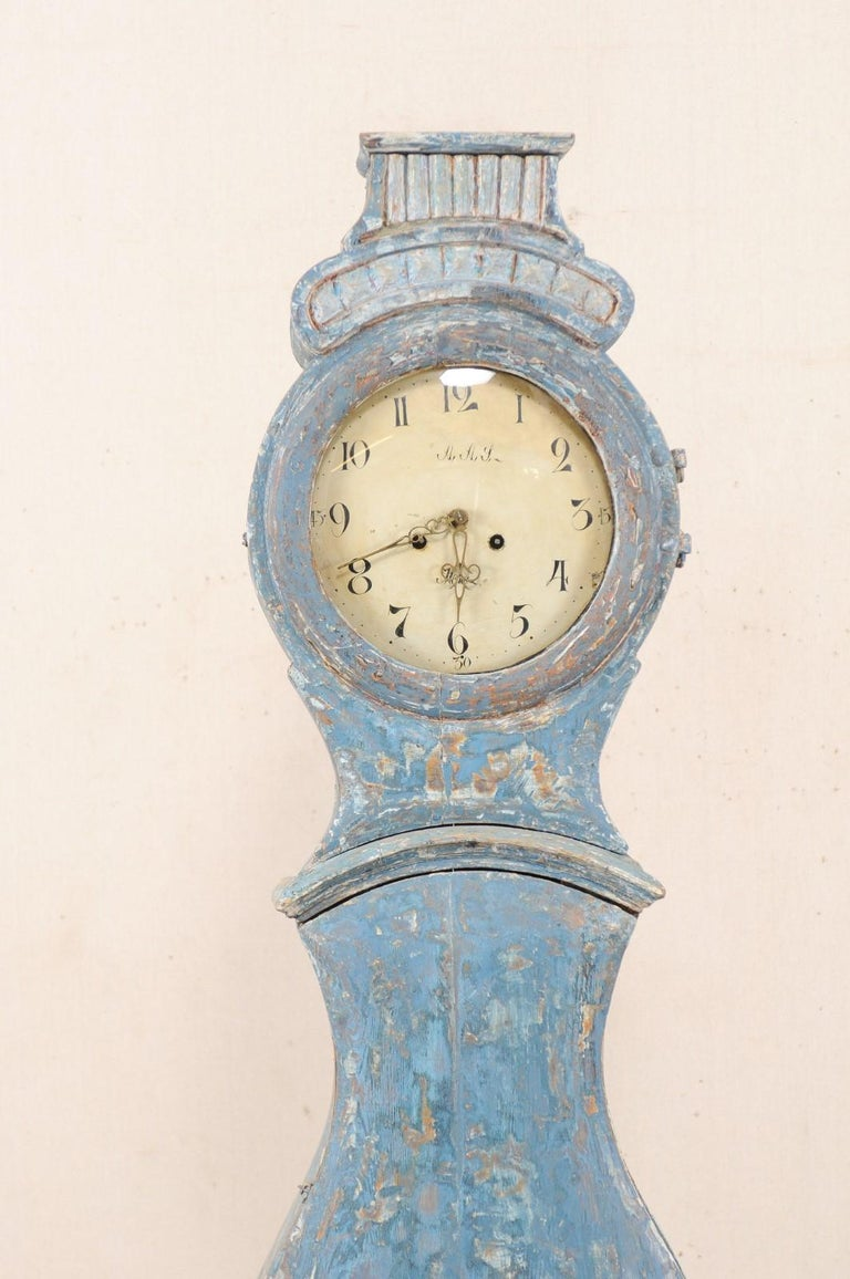 Glass Early 19th Century Swedish Grandfather Clock with Original Blue Color For Sale