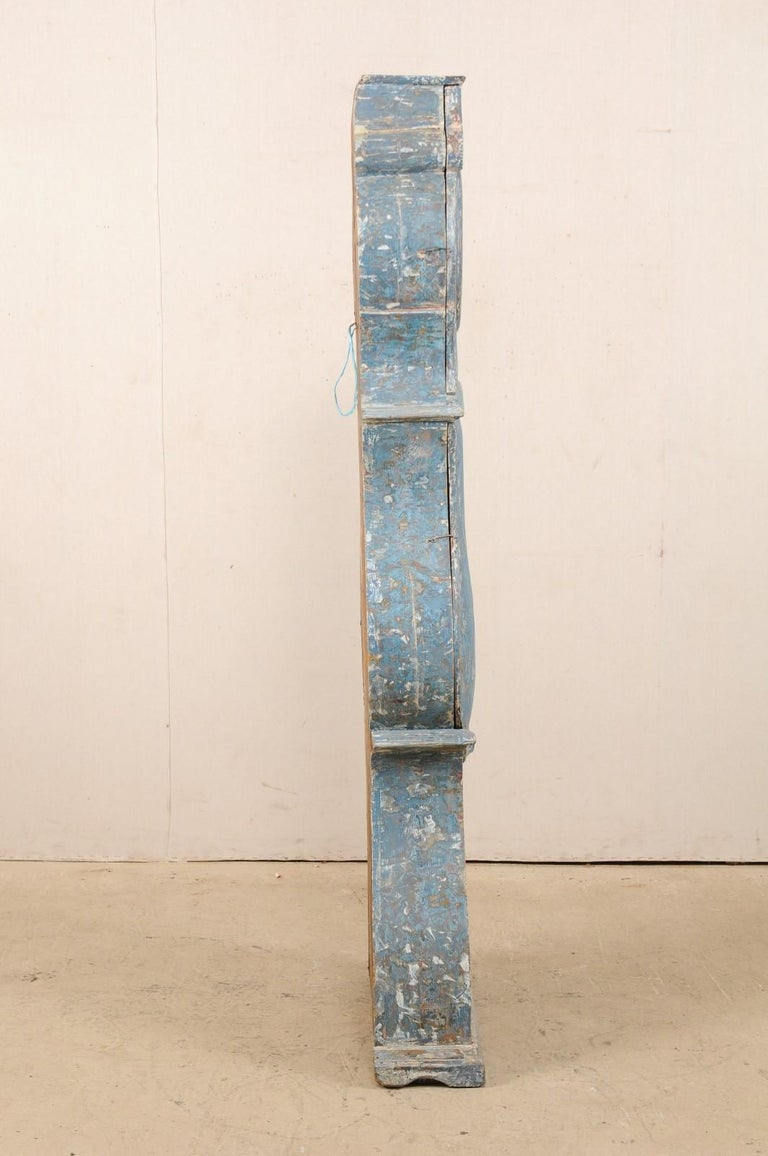 Early 19th Century Swedish Grandfather Clock with Original Blue Color For Sale 3