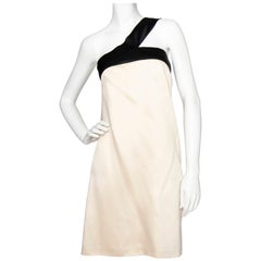 An Early 2000s Vintage D&G by Dolce & Gabbana Ivory Satin Cocktail Dress