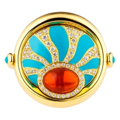 "AnaKatarina 4 Elements ""Fire"" Ring with Fire Opal, Turquoise Diamond Yellow Gold"