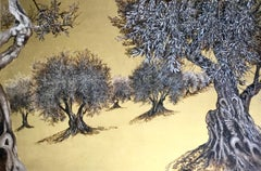 When I Was a Child I Discovered a Secret Garden, Large gold painting with trees