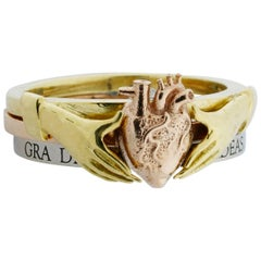 Anatomical Heart & Claddagh Ring Set in 18kt Yellow, 18kt White & 18kt Rose Gold