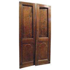 Ancient Glass Door, Double Hinged Door in Walnut with Shutters, 1700, Italy