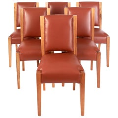 André Sornay, Important Set of Six Walnut & Leather Dining Chairs, France, 1930s