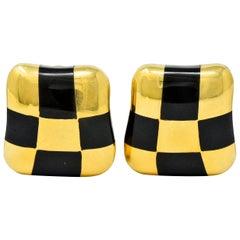 Angela Cummings Enamel 18 Karat Gold Checkerboard Ear-Clip Earrings