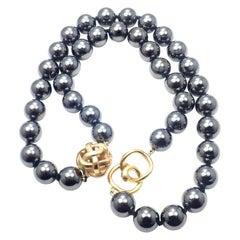 Angela Cummings Hematite Bead Yellow Gold Necklace