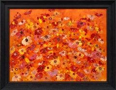 Abstract Red Pink Wild Flowers on Orange Background by British Landscape Artist