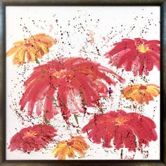 Abstract Red Pink Wild Flowers on White Background by British Landscape Artist